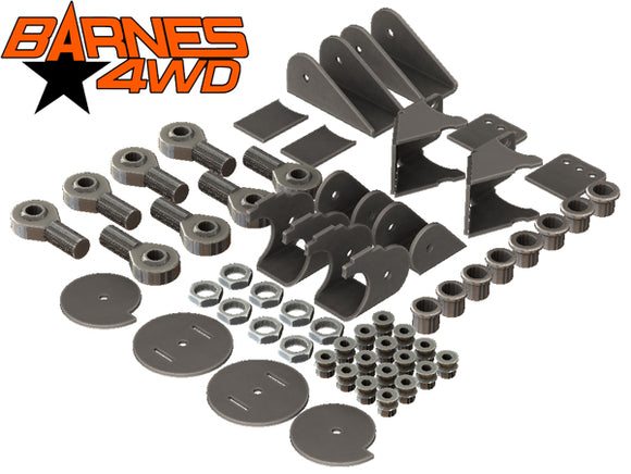 1-1/4 DOUBLE TRIANGULATED 4 LINK KIT, 5.5 COIL COMBO LOWER CONTROL ARM BRACKETS, 1-1/4 UPPERS
