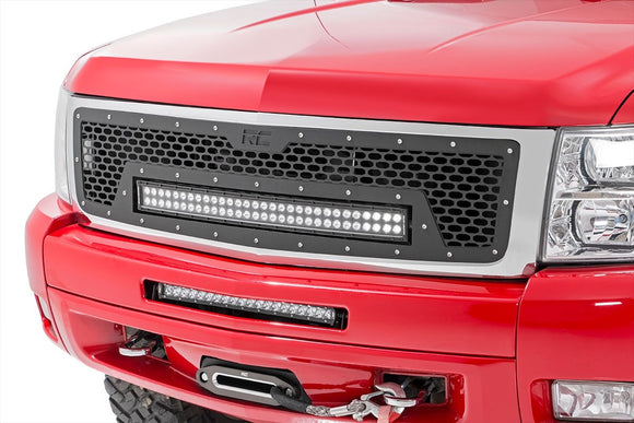 CHEVROLET MESH GRILLE W/30IN DUAL ROW BLACK SERIES LED (07-13 SILVERADO 1500)