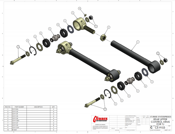 TJ/LJ Johnny Joint® Rear Upper Adjustable Control Arms