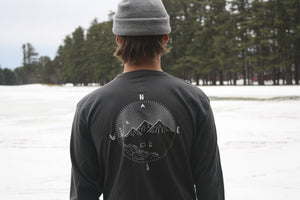 Compass Long Sleeve Tee- Charcoal