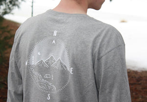 Compass Long Sleeve Tee- Steel