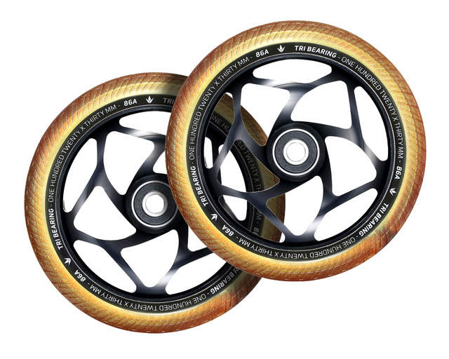 Envy Tri Bearing 120mm x 30mm Scooter Wheels - Gold/Black - sold as a pair