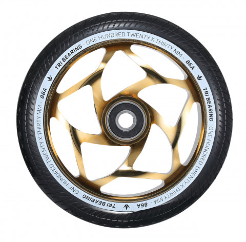 Envy Tri Bearing 120mm x 30mm Scooter Wheels - Gold/Black