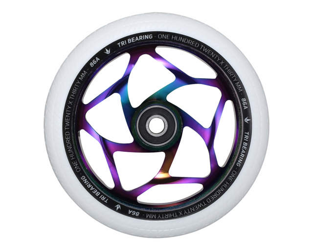 Envy Tri Bearing Wheel 120mm X 30mm | White / Oil Slick - sold as a pair
