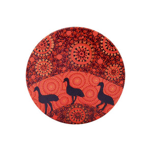 Aboriginal Emus Sunset Ceramic Coaster