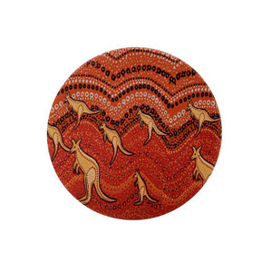 Aboriginal Kangaroo Sunset Ceramic Coaster
