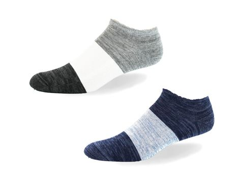 Cushioned 90% Cotton Ankle Block Stripe Socks by Point Zero