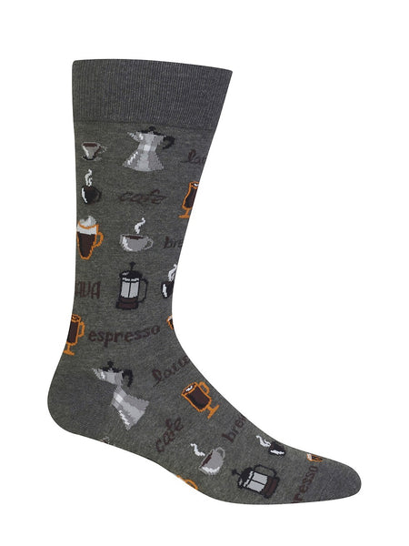 "Men's ""Coffee"" Cotton Crew Socks by Hot Sox"