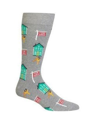 "Men's ""Dalmatian and Firetrucks"" Cotton Crew Socks by Hot Sox"