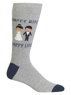 "Men's ""Happy Wife Happy Life"" Cotton Crew Socks by Hot Sox"