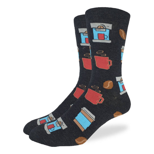 "Unisex ""Coffee"" Cotton Crew Socks by Good Luck Sock"