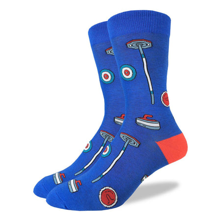 "Unisex ""Hockey Sticks and Pucks"" Cotton Crew Socks by Good Luck Sock"