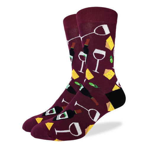 Men's Wine & Cheese Cotton Crew Socks by Good Luck Sock