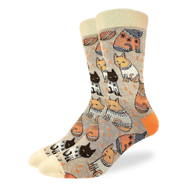 "Unisex ""Sweater Cats"" Cotton Crew Socks by Good Luck Sock"