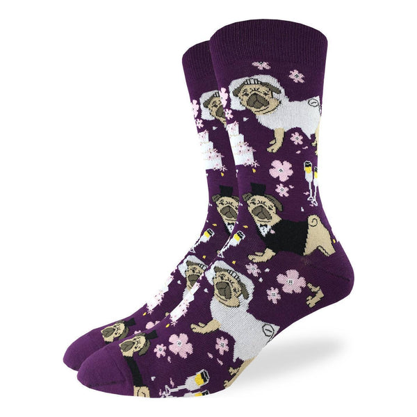 "Unisex ""Pug Wedding"" Cotton Crew Socks by Good Luck Sock"