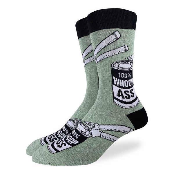 "Men's ""A Can of Whoopass"" Crew Socks by Good Luck Sock"