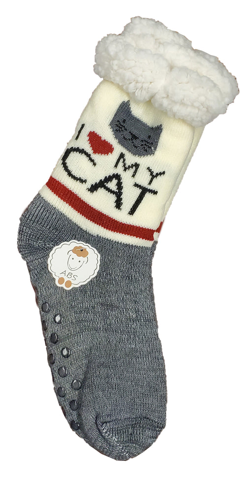 "Northern Comfort  Adult ""I love my cat"" Slippery Socks"