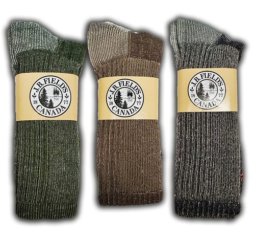 "J.B. Field's ""Hiker GX"" Merino Wool Hiking Sock - SLIGHTLY IMPERFECT -ASST 3PK"