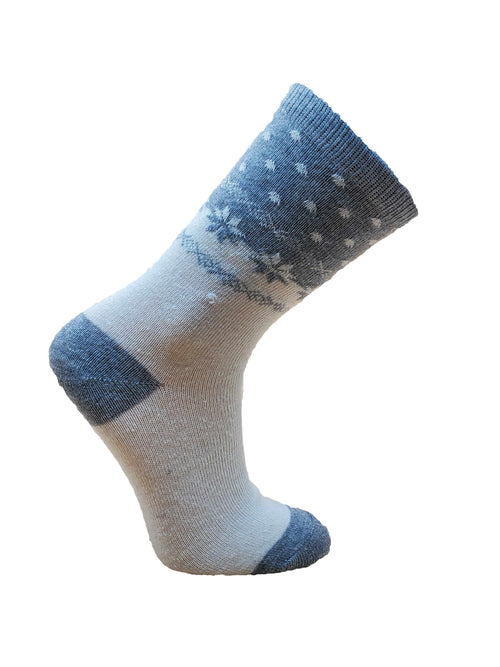 Women's Snowflake Patterned Angora Blend Sock by Point Zero