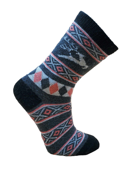 Women's Reindeer Patterned Angora Blend Sock by Point Zero