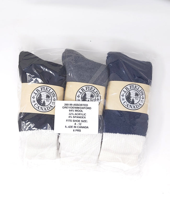 J.B. Field's Full-Cushion Heavy Thermal Wool Work/Boot Socks - 6 Pairs - CLEARANCE
