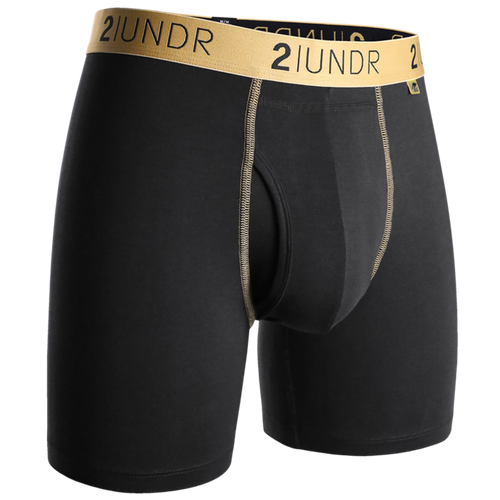 "2UNDR Swing Shift 6"" Boxer Brief -  Black w/ Gold"
