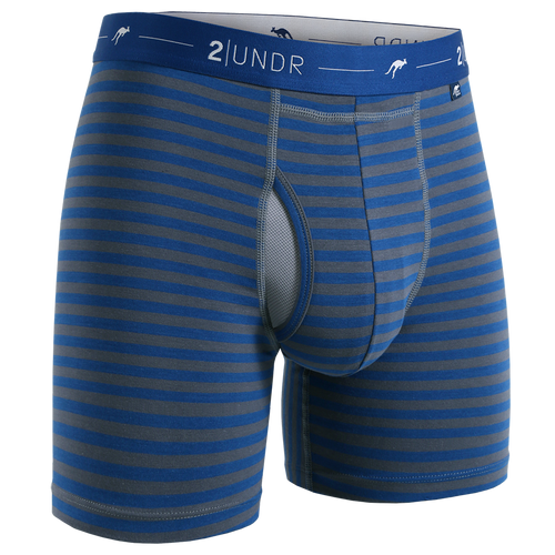 "2UNDR Day Shift 6"" Boxer Brief - Navy/Grey Stripes"