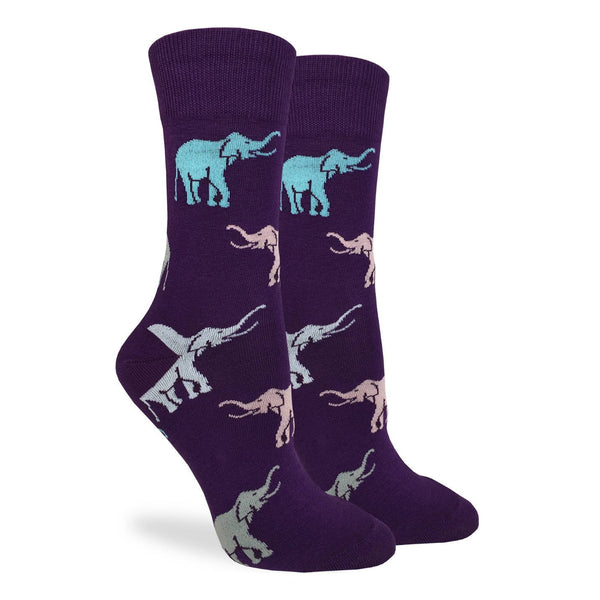 Women's Purple Elephant Cotton Crew Socks by Good Luck Sock