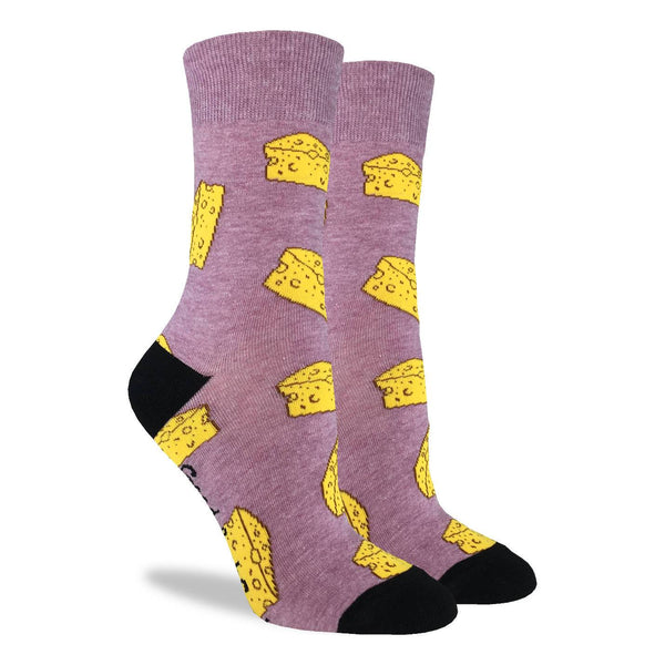Women's Cheese Cotton Crew Socks by Good Luck Sock
