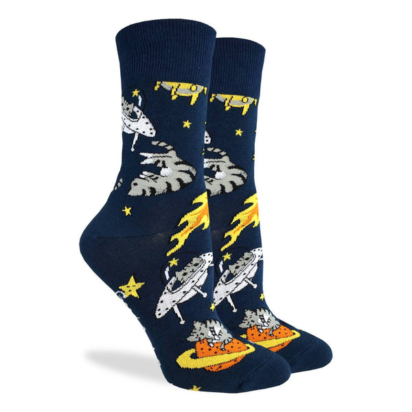 "Unisex ""Space Cat"" Cotton Crew Socks by Good Luck Sock"