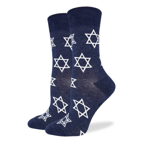 "Women's ""Star of David"" Cotton Crew Socks by Good Luck Sock"