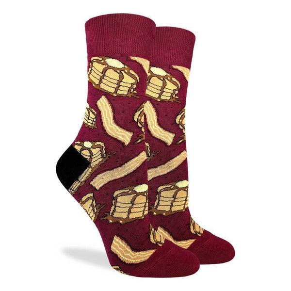 "Unisex ""Pancakes with Bacon"" Cotton Crew Socks by Good Luck Sock"