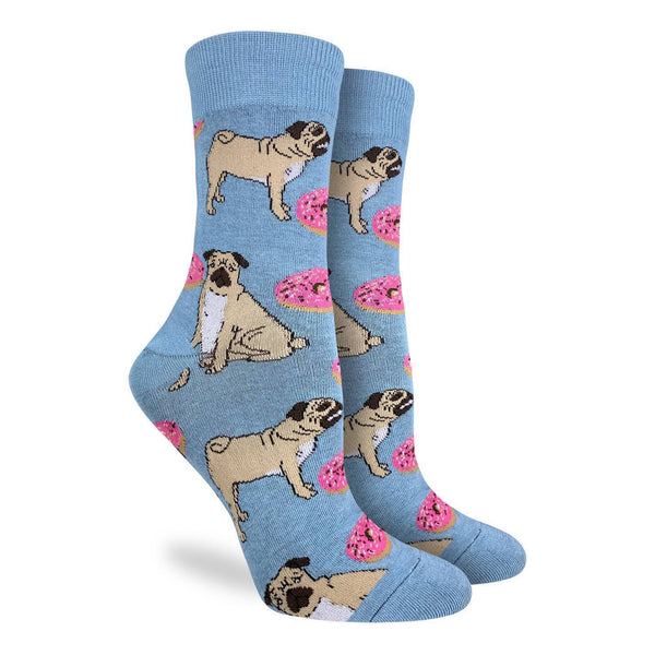 "Unisex ""Pugs and Donuts"" Crew Socks by Good Luck Sock"