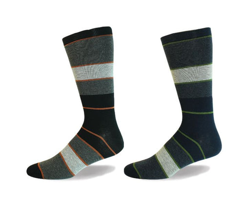 Wellness Men's Non-Elastic Striped Cotton Socks