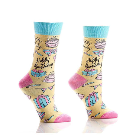Women's Wine & Cheese Cotton Dress Crew Socks by YO Sox