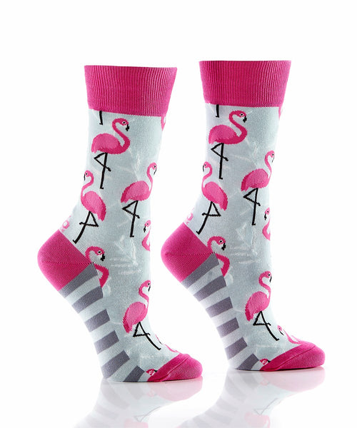 "Women's ""Pink Flamingo"" Cotton Dress Crew Socks by YO Sox"