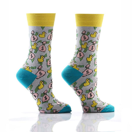 Women's Pizza Cotton Dress Crew Socks by YO Sox