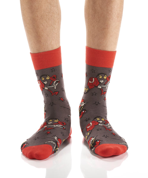 Men's Tattoo Heart Cotton Dress Crew Socks by YO Sox