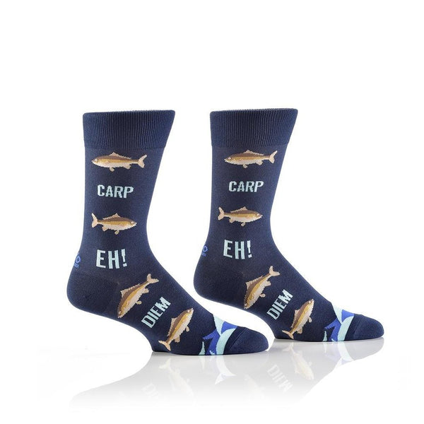 "Men's ""Carpe Diem"" Cotton Crew Socks by Yo Sox"