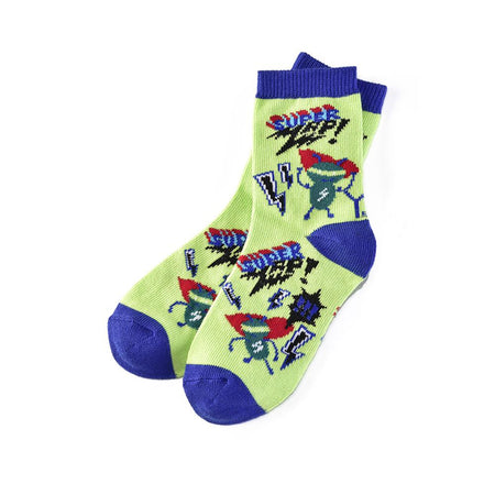 Men's Blue Mustache Cotton Dress Crew Sock by YO Sox