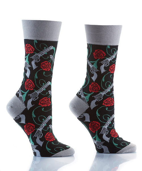 "Women's ""Guns & Roses"" Cotton Crew Socks by YO Sox"