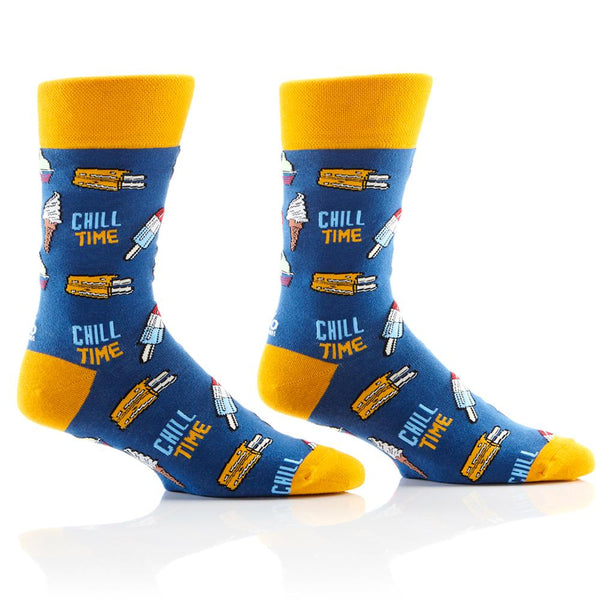 "Men's ""Chill Time"" Cotton Dress Crew Socks by YO Sox"