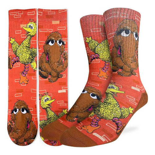 "Men's ""Big Bird & Snuffleupagus"" Crew Socks by Good Luck Sock"