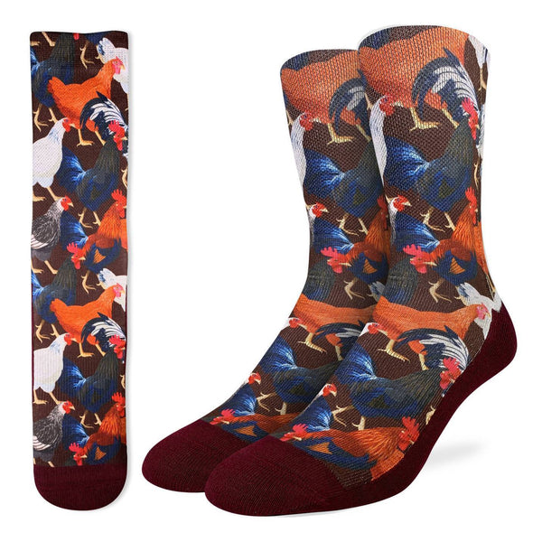 "Men's ""Chickens & Roosters"" Crew Socks by Good Luck Sock"