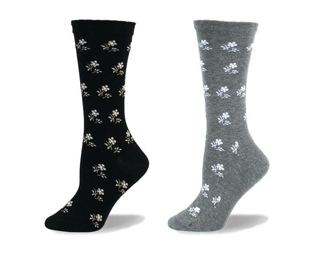 "Wellness Women's Diabetic ""Floral"" Bamboo Non-Elastic Casual/Dress Socks"