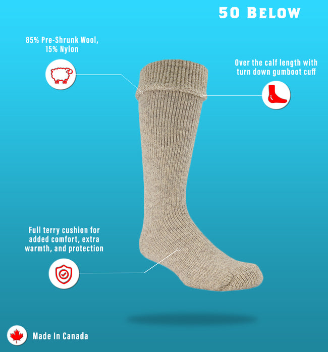 "J.B. Field's Icelandic ""50 Below Gumboot"" Wool Thermal Sock"