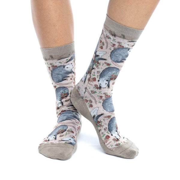 Women's Opossum Crew Socks by Good Luck Sock