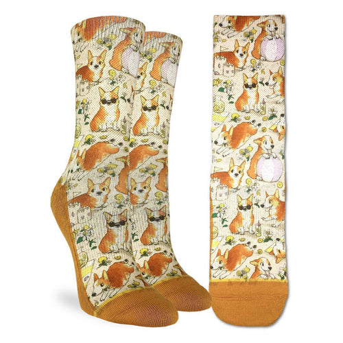 "Women's ""Corgis on a Beach"" Crew Socks by Good Luck Sock"