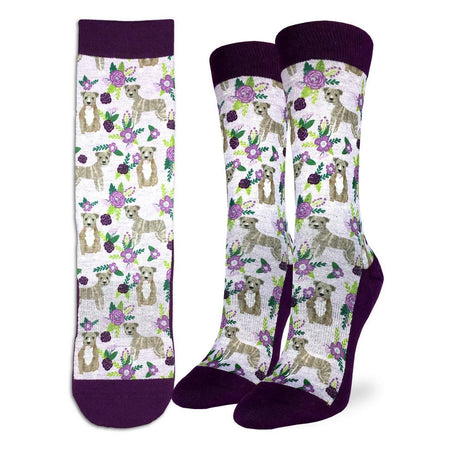 Women's Floral Pandas Crew Socks by Good Luck Sock