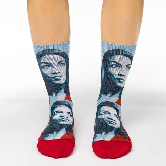 "Women's ""Alexandria Ocasio-Cortez"" Crew Socks by Good Luck Sock"